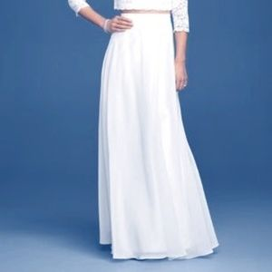 David's Bridal Long Chiffon Wedding Skirt - White